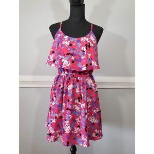 Elle pink floral print ruffle dress SZ S